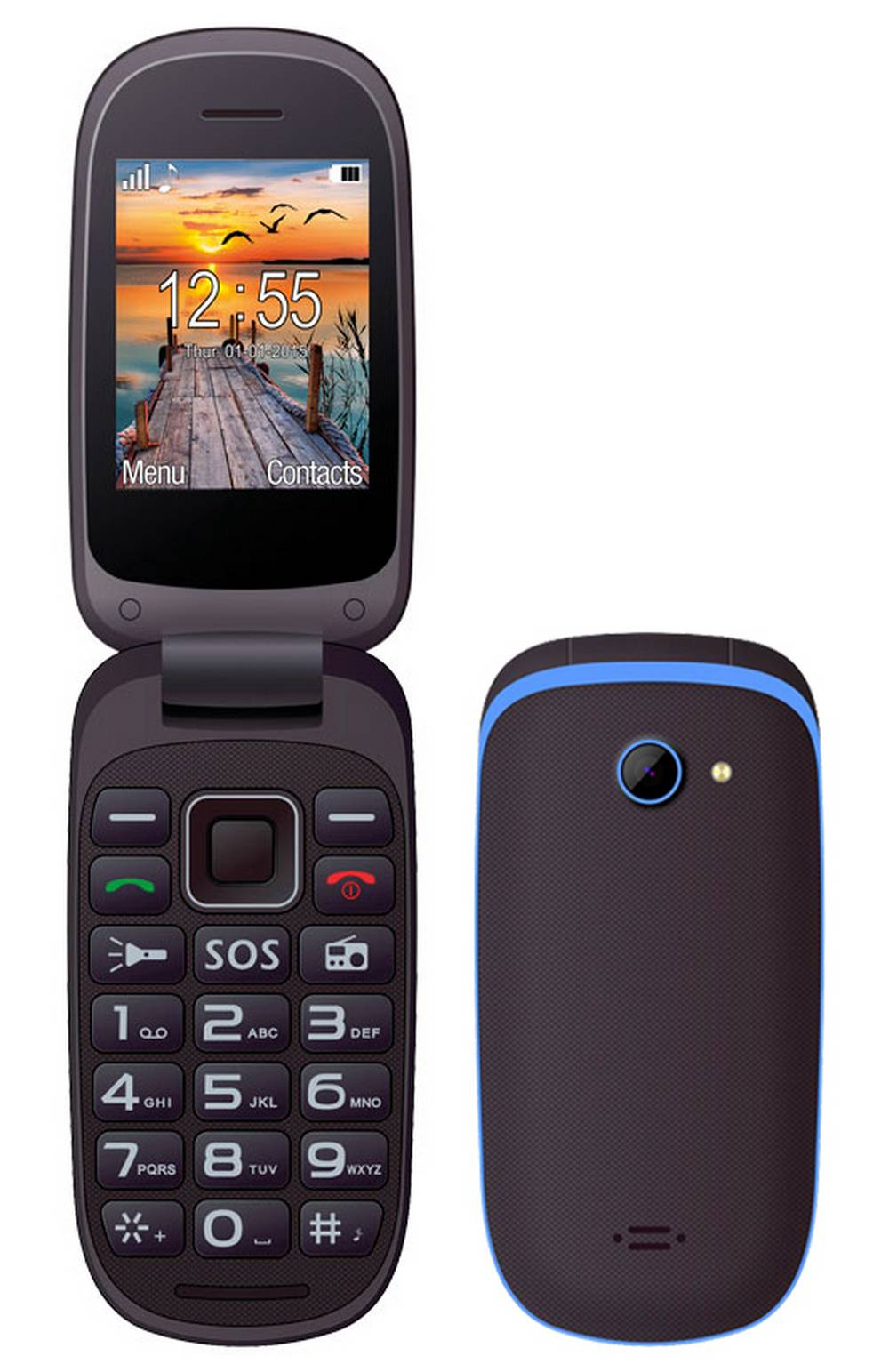 Maxcom MM818 (Dual Sim) με Μεγάλα Πλήκτρα, Ραδιόφωνο (Λειτουργεί χωρίς Handsfree) και Πλήκτρο Έκτακτης Ανάγκης Μαύρο-Μπλέ