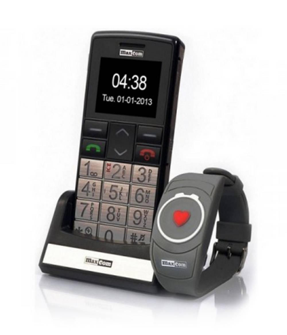 Maxcom MM715BB με Ασύρματο Βραχιόλι SOS, Bluetooth, Μεγάλα Πλήκτρα, Ραδιόφωνο, Φακό και Πλήκτρο Έκτακτης Ανάγκης Μαύρο-Ασημί