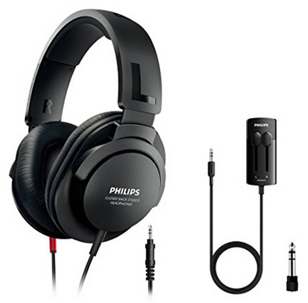 Ακουστικά Stereo TV Philips SHP2600TV/10 3.5 mm Μαύρα με Αντάπτορα 6.3 mm, Χειριστήριο Έντασης και Καλώδιο 1 m + 5.2 m για Συσκευές Ήχου