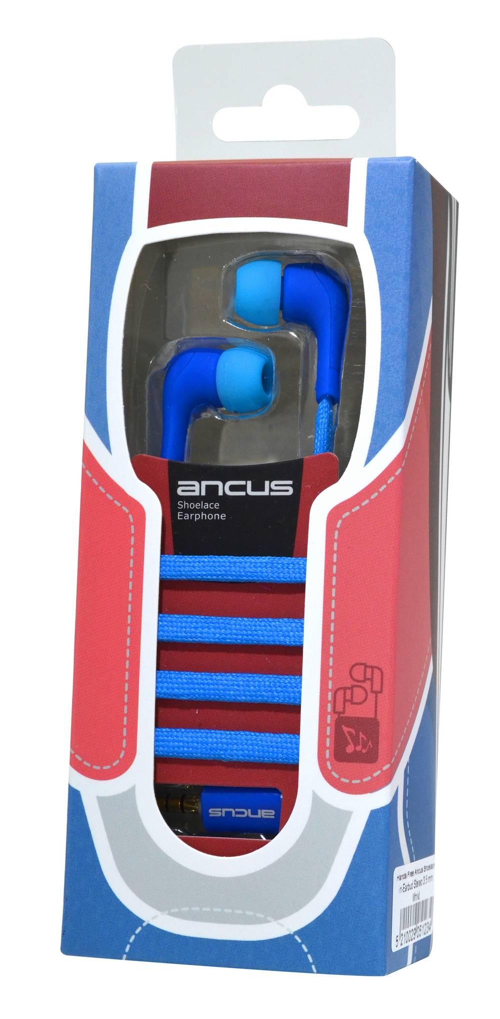 Hands Free Ancus Shoelace in-Earbud Stereo 3.5 mm για Apple-Samsung-Sony-LG-Huawei Μπλέ με Καλώδιο Κορδόνι, Μικρόφωνο, Πλήκτρο Απάντησης