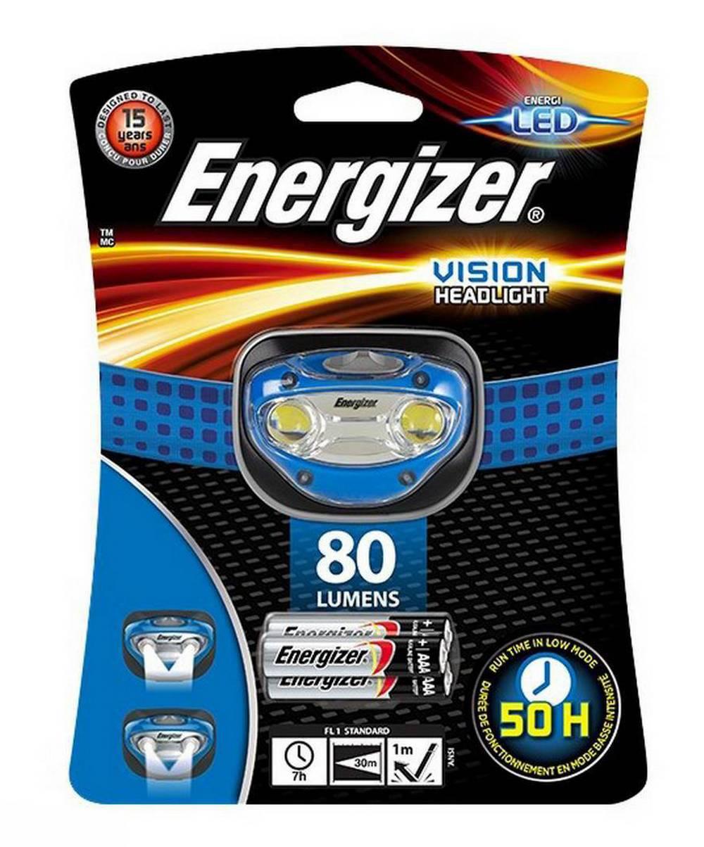 Φακός Κεφαλής Energizer Vision 2 Led 80 Lumens με Μπαταρίες AAA 3 Τεμ. Μπλέ