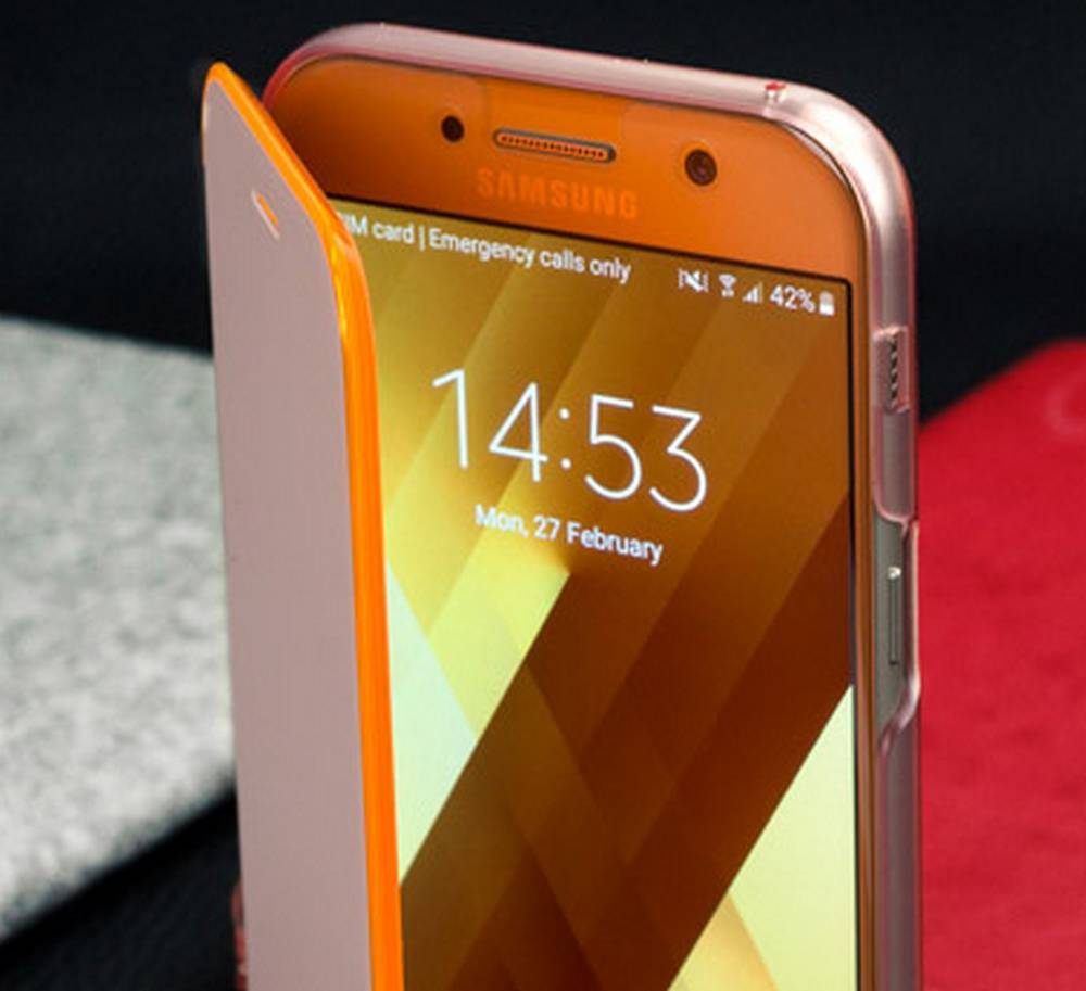 Θήκη Book Samsung Neon Flip Cover EF-FA520PPEGWW για SM-A520F Galaxy A5 (2017) Ρόζ
