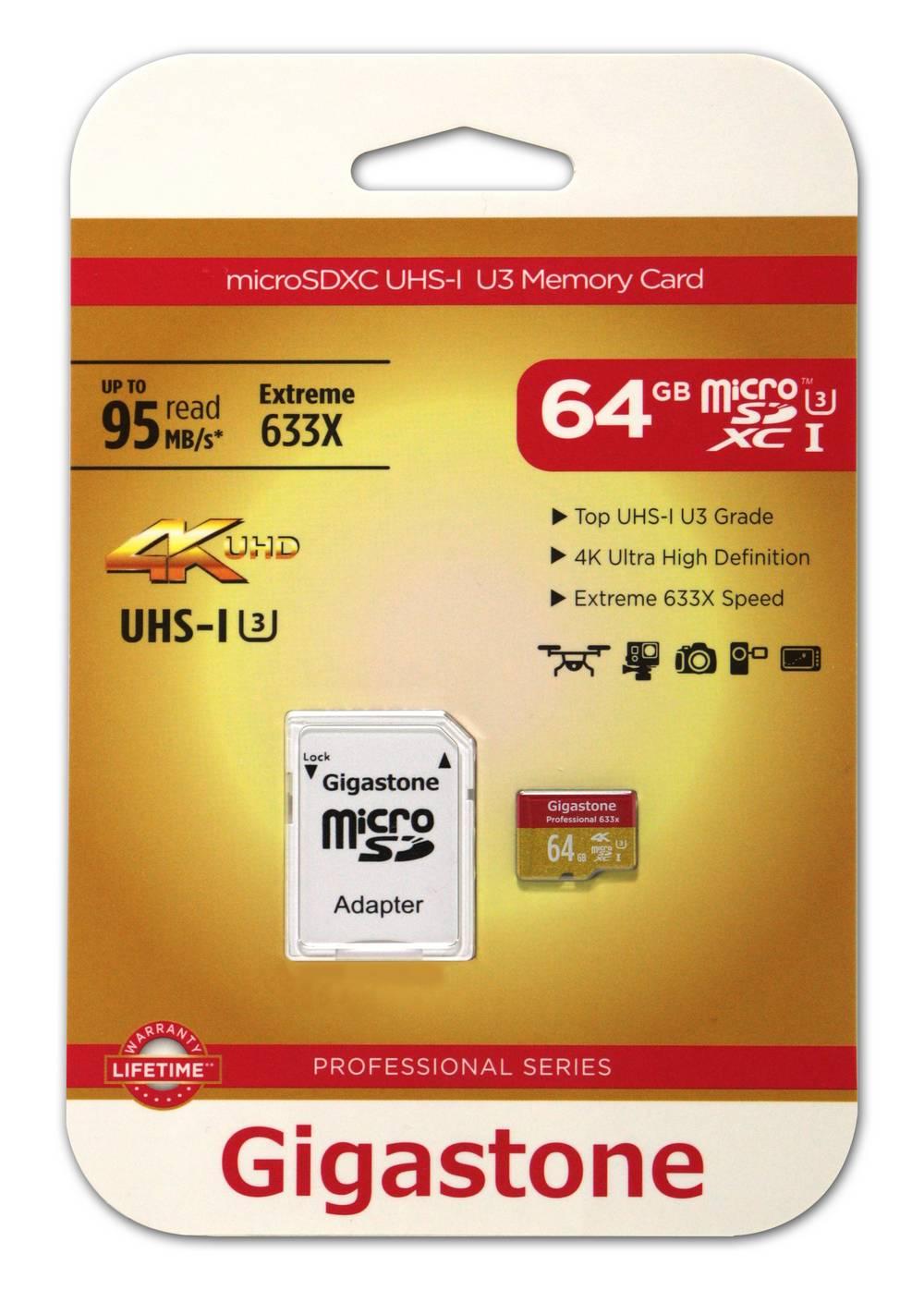 Κάρτα Μνήμης Gigastone MicroSDXC UHS-I U3 64GB U3 Extreme 633X Professional Series με SD Αντάπτορα up to 95 MB/s*