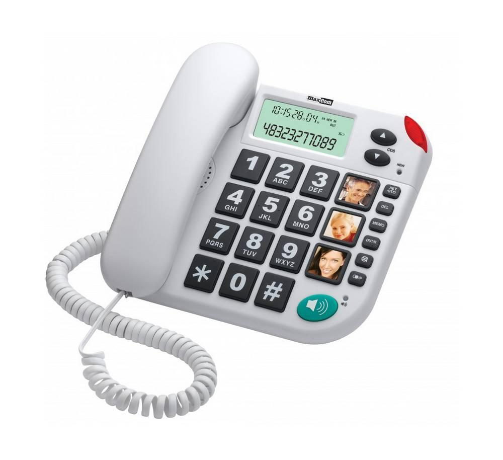 Σταθερό Ψηφιακό Τηλέφωνο Maxcom KXT481 SOS Λευκό με Οθόνη, Ένδειξη Κλήσης Led, Μεγάλα Πλήκτρα χωρίς Ελληνικό Μενού