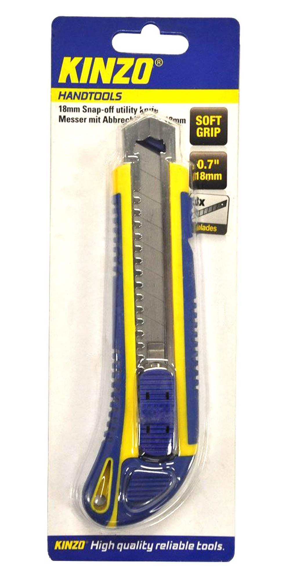 """Κοπίδι Μεγάλο Kinzo 71843 0.7"""" 18mm με Μαλακή Λαβή και 3 Ανταλλακτικά"""