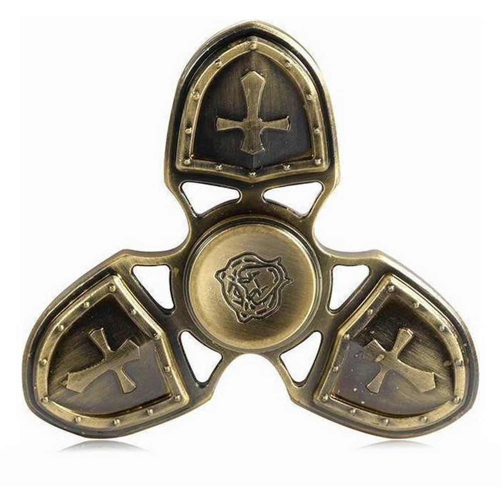 Fidget Spinner Metal Medieval 3 Leaves Χρυσαφί 4 min