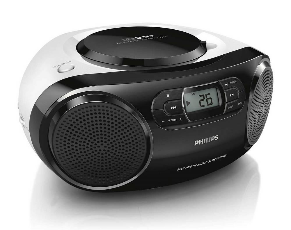Φορητό Ράδιο MP3-CD Philips AZ330T/12 4W Μαύρο με Bluetooth, Θύρα USB και Audio-in