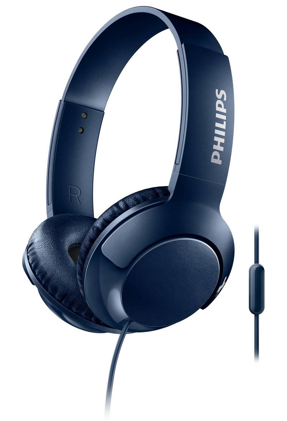Ακουστικά Stereo με Μικρόφωνο Philips BASS+ SHL3075BL/00 3.5 mm για Apple-Samsung-Sony-Huawei-LG Μπλέ