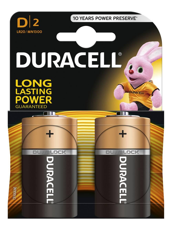Μπαταρία Αλκαλική Duracell Long Lasting LR20 / MN1300 size D Τεμ. 2