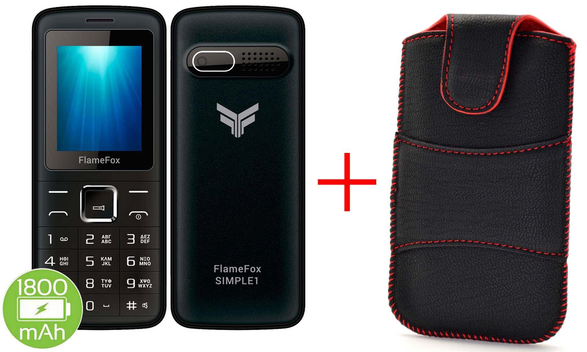 """FlameFox Simple1 (Dual Sim) 1.77"""" με Bluetooth, Κάμερα, Ραδιόφωνο, Φακό + Θήκη"""