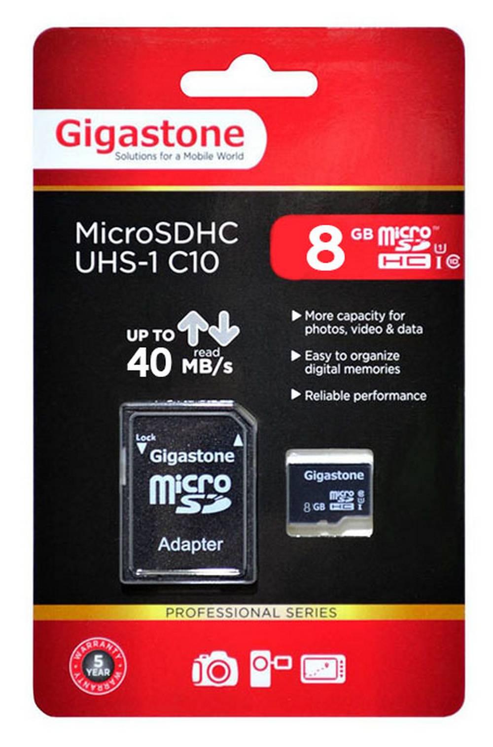 Κάρτα Μνήμης Gigastone MicroSDHC UHS-1 8GB C10 Professional Series με SD Αντάπτορα up to 40 MB/s*