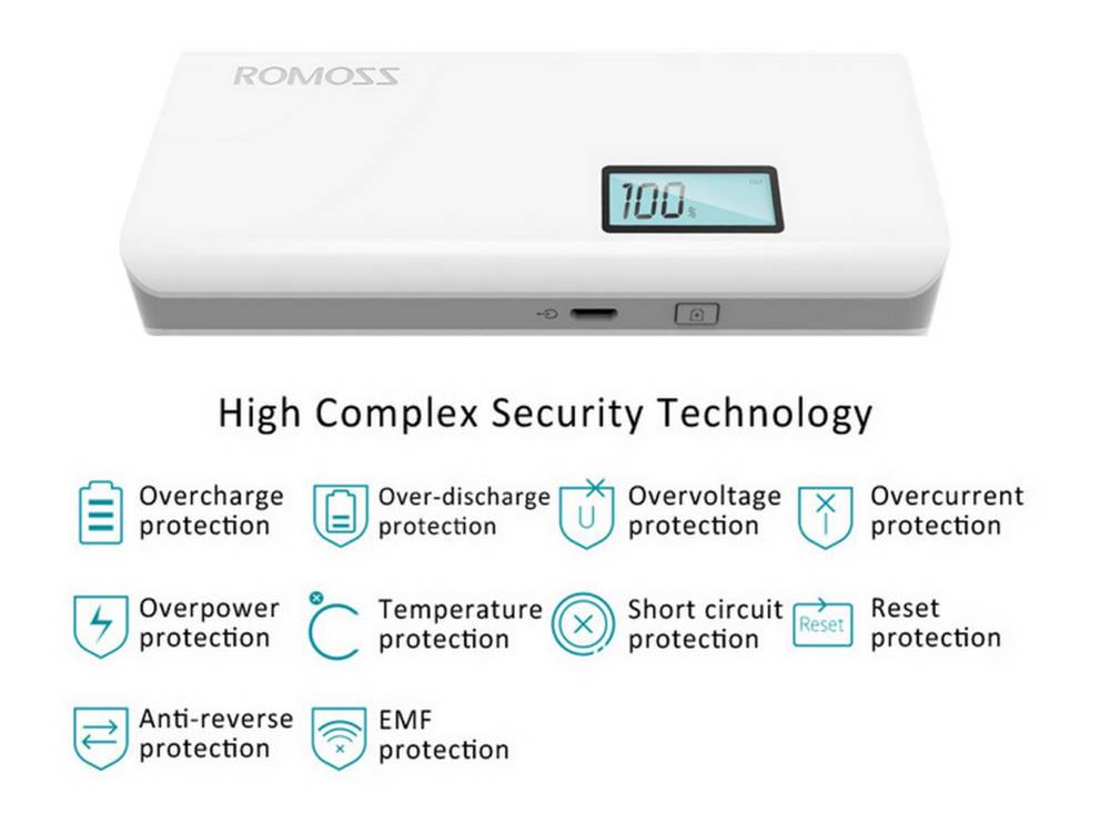 Power Bank Romoss Solo 5 Plus 10000 mAh Dual Λευκό με Ένδειξη Επιπέδου Φόρτισης