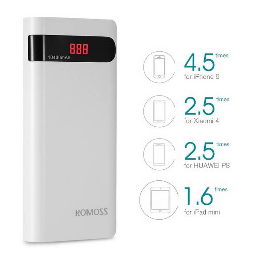 Power Bank Romoss Sense 4P 10400 mAh Dual Λευκό με Ένδειξη Επιπέδου Φόρτισης Led