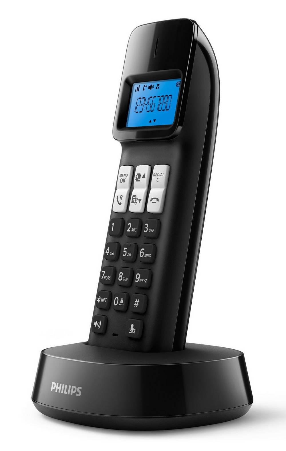Ασύρματο Ψηφιακό Τηλέφωνο Philips D1411B/23 Μαύρο