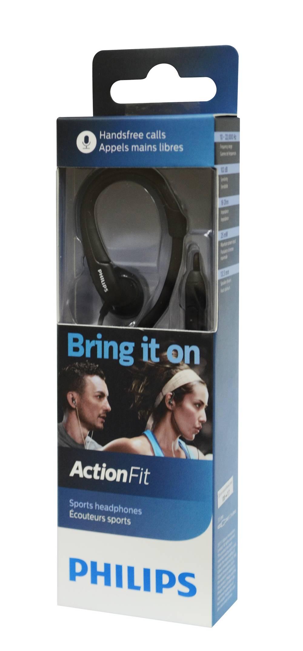 Hands Free Philips ActionFit SHQ1255TBK/00 Stereo Μαύρο με Μικρόφωνο