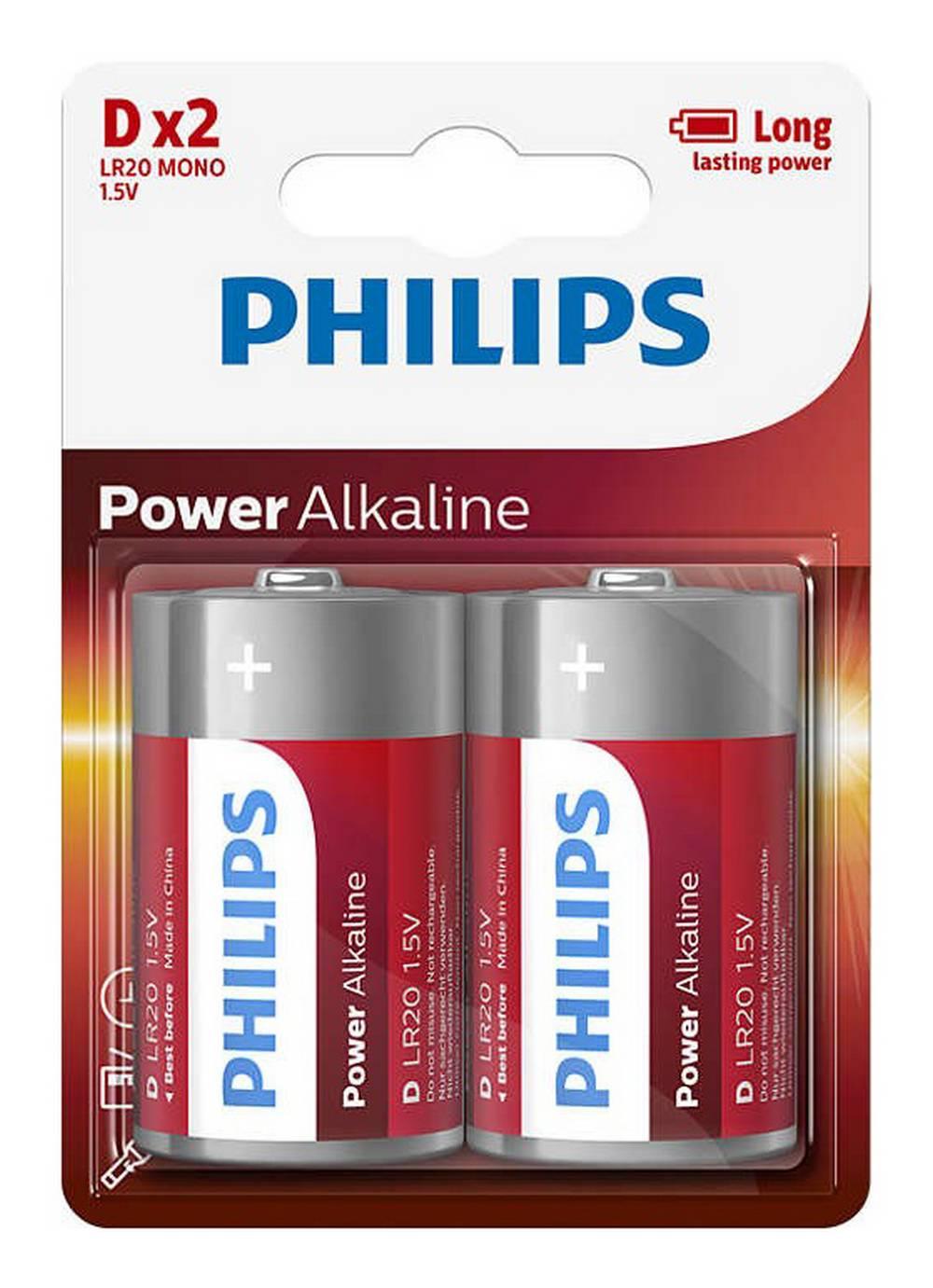 Μπαταρία Power Alkaline Philips LR20 size D 1.5 V Τεμ. 2