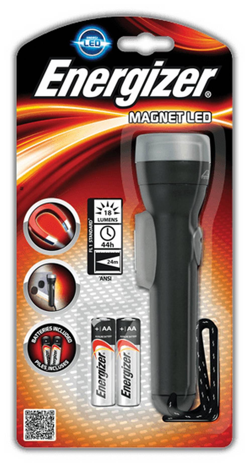 Φακός Energizer Magnet Led 1 Led 18 Lumens με Μπαταρίες AA 2 Τεμ. Μαύρο