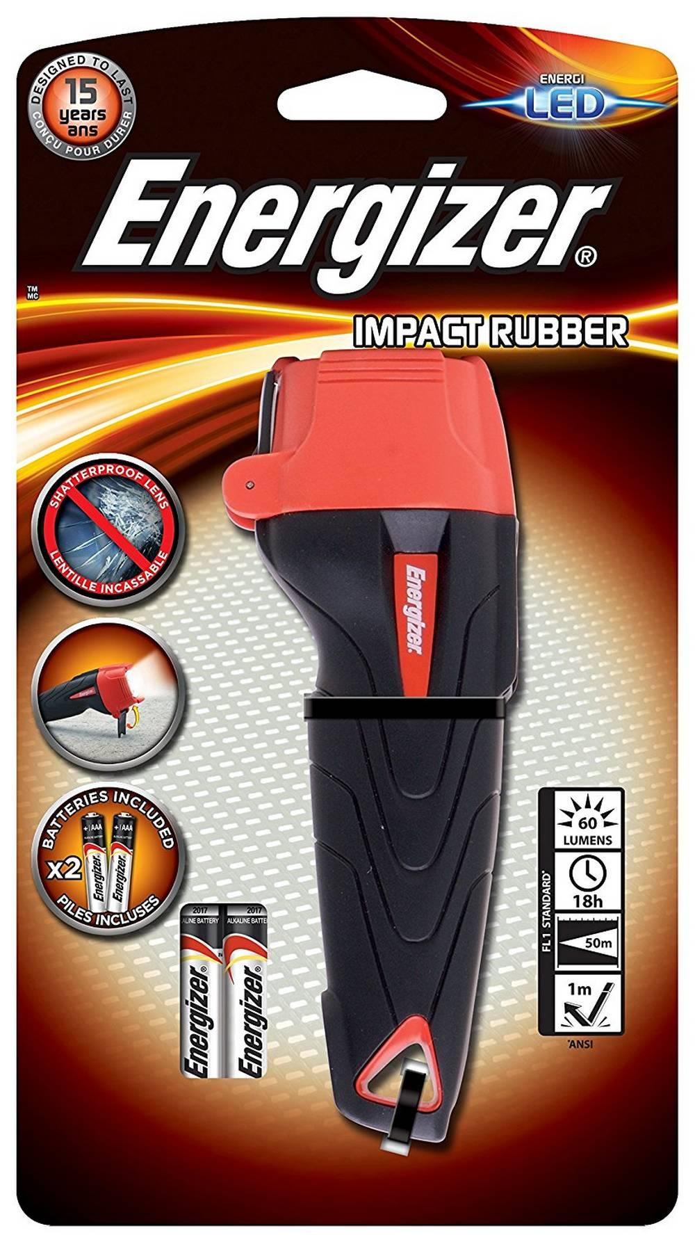 Φακός Energizer Impact Rubber 1 Led 60 Lumens με Μπαταρίες AAA 2 Τεμ. Μαύρο