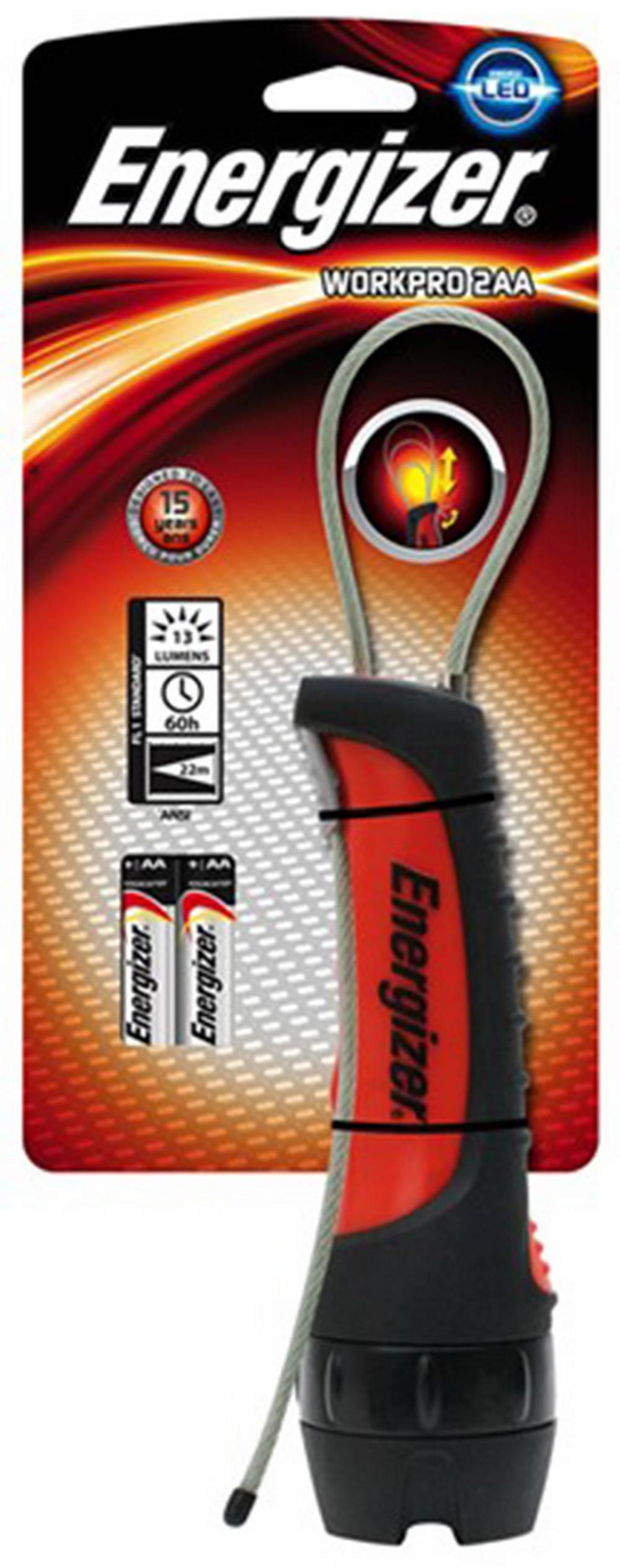 Φακός Energizer WorkPro 1 Led 13 Lumens με Μπαταρίες AA 2 Τεμ. Μαύρο