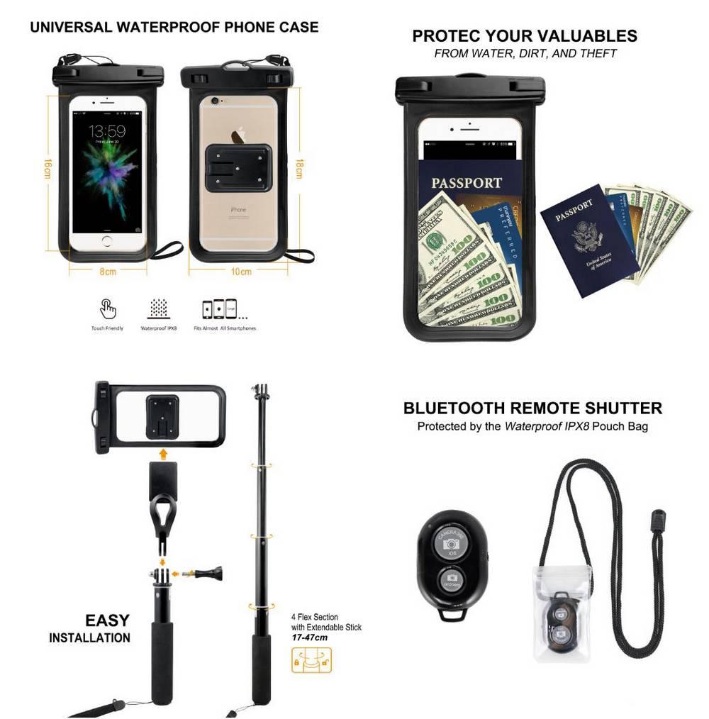 Selfie Stick Jabees Waterproof Combo Pack 3 σε 1 Bluetooth Πτυσσόμενο Μαύρο (Μήκος Κονταριού 17cm, Μήκος Ανοίγματος 47cm)