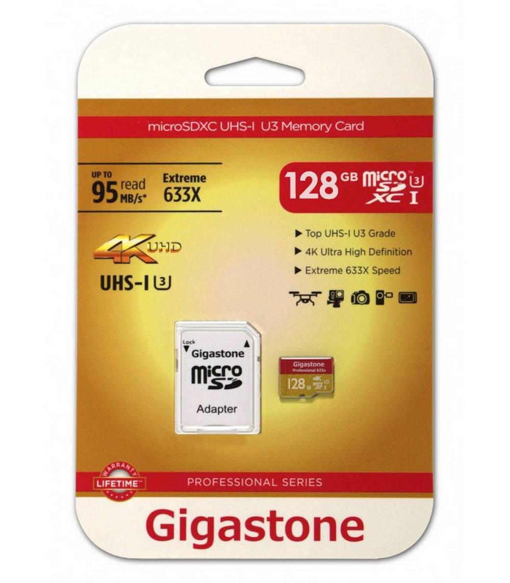 Κάρτα Μνήμης Gigastone MicroSDXC UHS-I U3 128GB U3 Extreme 633X Professional Series με SD Αντάπτορα up to 95 MB/s*