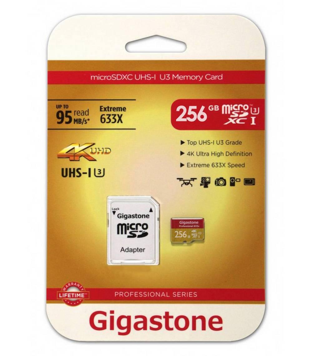 Κάρτα Μνήμης Gigastone MicroSDXC UHS-I U3 256GB U3 Extreme 633X Professional Series με SD Αντάπτορα up to 95 MB/s*