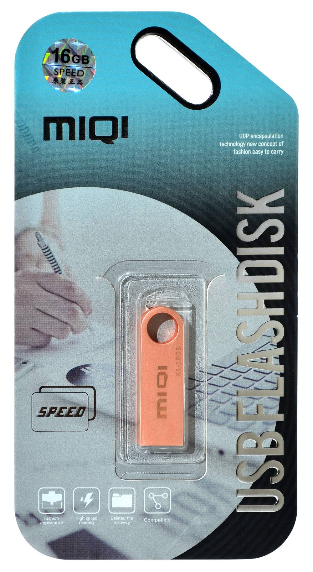 USB 2.0 MIQI Flash Drive X1 16GB Χρυσαφί Ρόζ Metal