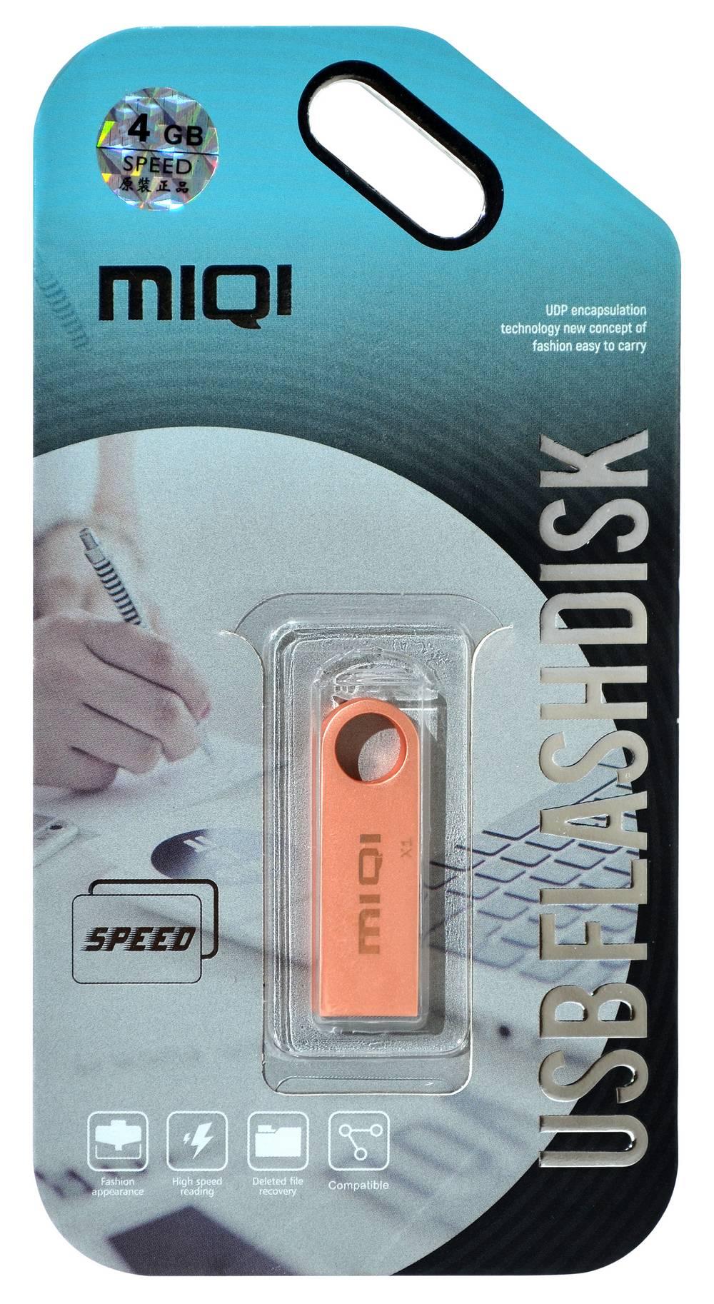 USB 2.0 MIQI Flash Drive X1 4GB Χρυσαφί Ρόζ Metal