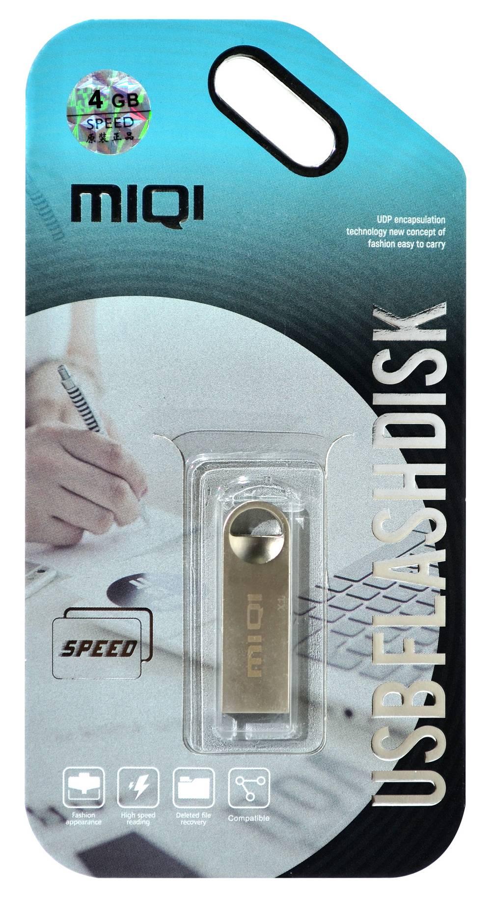 USB 2.0 MIQI Flash Drive X1 4GB Ασημί Metal