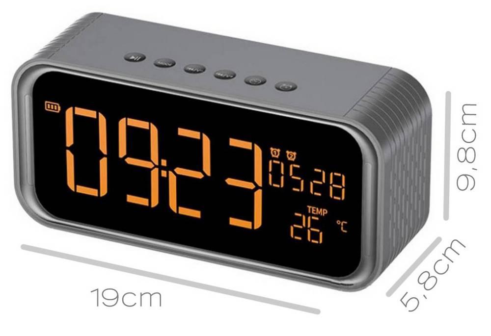 Φορητό Ηχείο Bluetooth Musky DY33 2x6W με Ξυπνητήρι, Ραδιόφωνο, Θερμοκρασία, Ανοιχτή Ακρόαση και Υποδοχή USB