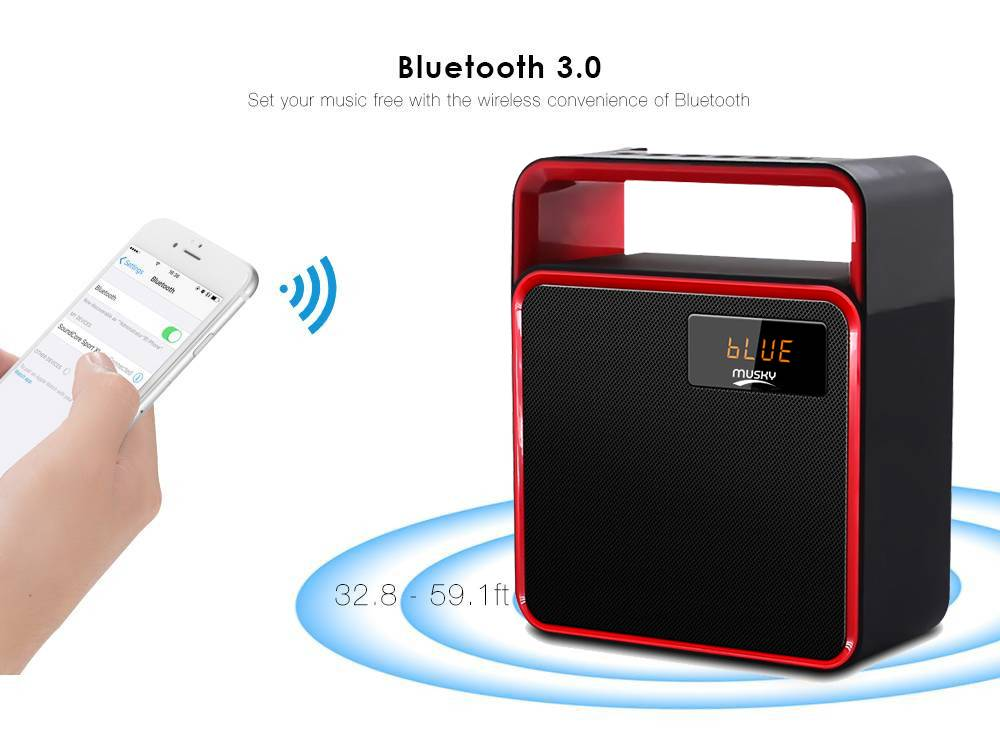 Φορητό Ηχείο Bluetooth Musky DY31 8W Μαύρο με Ραδιόφωνο,Ανοιχτή Ακρόαση, Audio-In και Υποδοχή USB