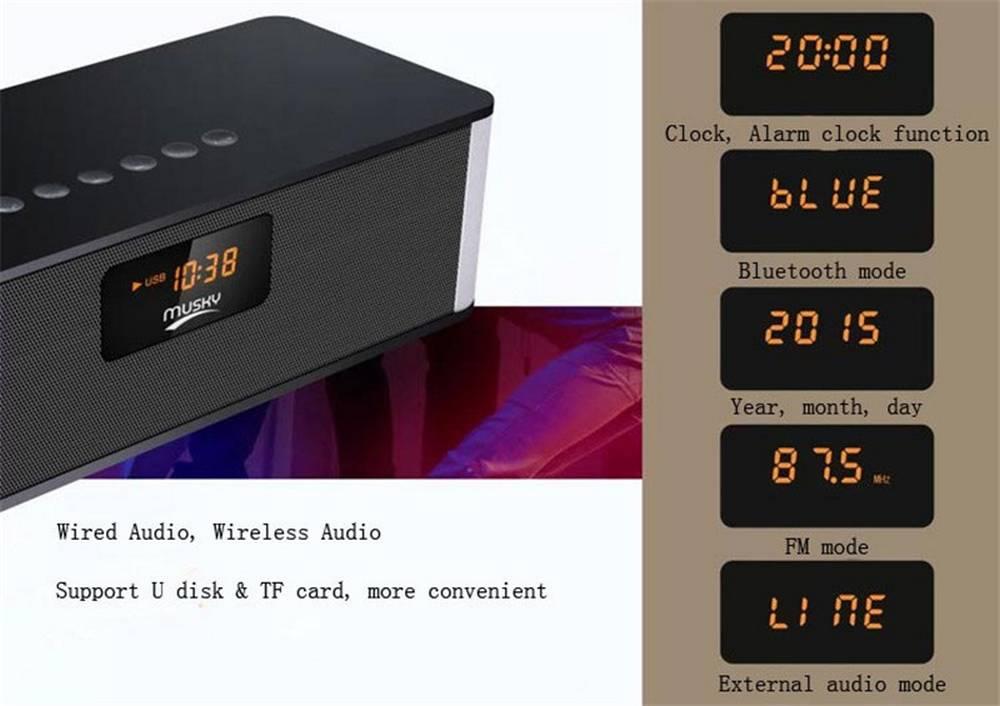 Φορητό Ηχείο Bluetooth Musky DY21L 2x4W με Ραδιόφωνο, Ξυπνητήρι, Audio-In, Ανοιχτή Ακρόαση και Υποδοχή USB