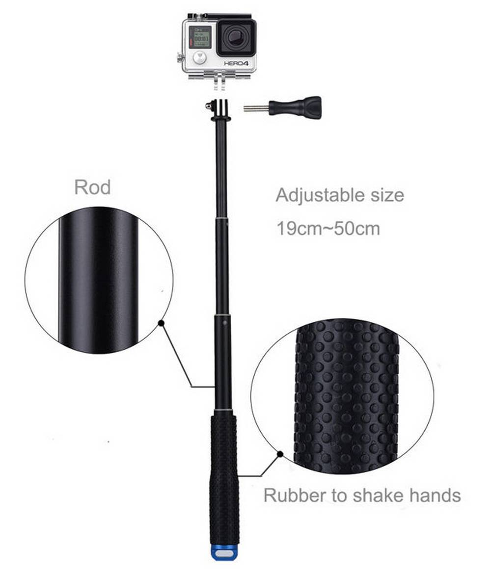Selfie Stick Monopod για GoPro και Φωτογραφικές Μηχανές Πτυσσόμενο Μαύρο (Μήκος Κονταριού 19cm, Μήκος Ανοίγματος 49cm)