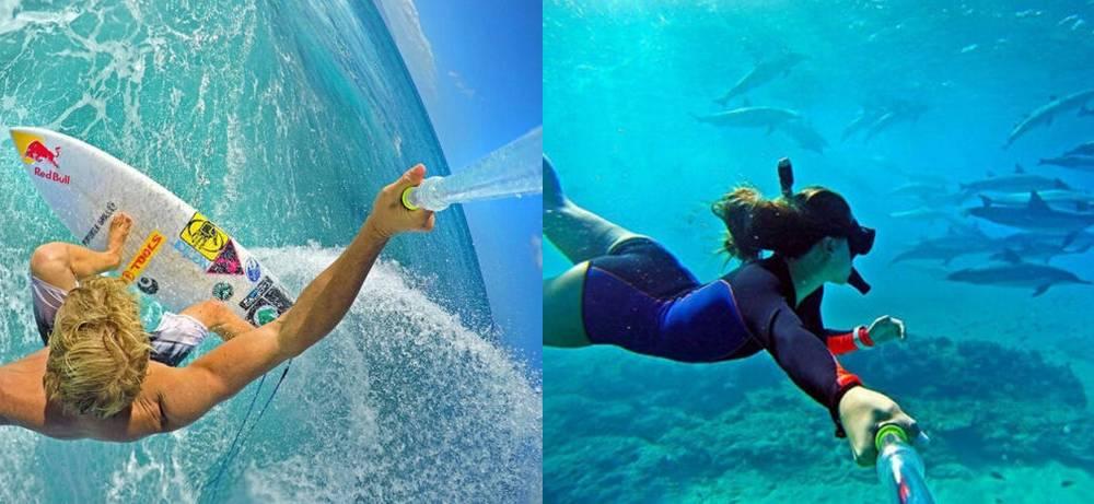 Αδιάβροχο Selfie Stick Monopod HR301 για GoPro και Φωτογραφικές Μηχανές Πτυσσόμενο Μαύρο-Διάφανο (Μήκος Κονταριού 37cm, Μήκος Ανοίγματος 62cm)