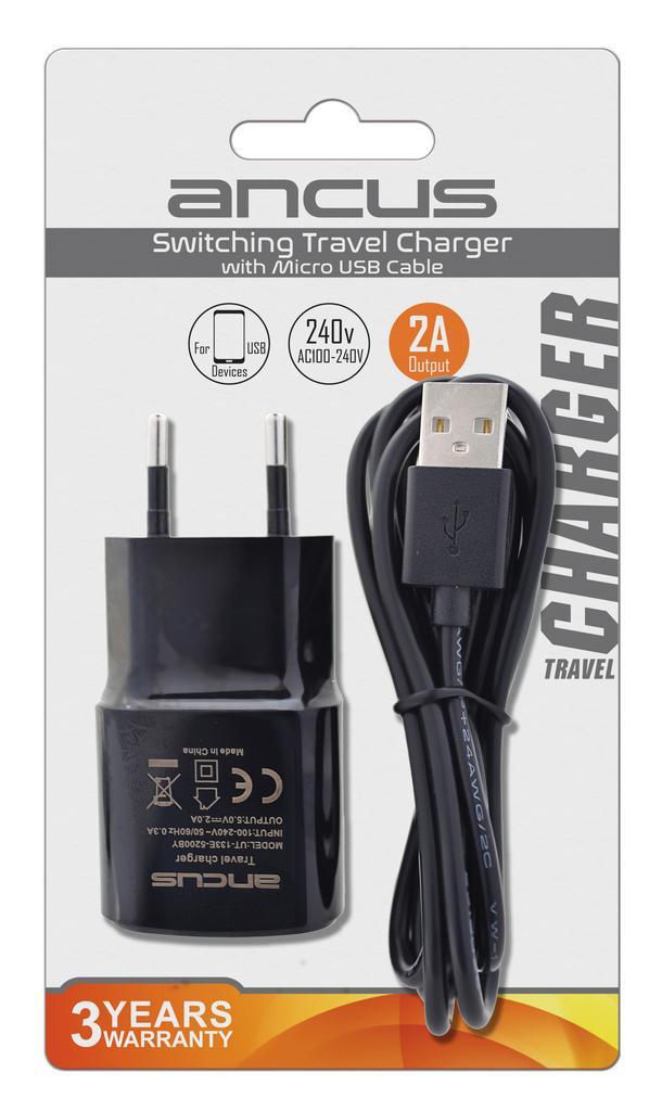 Φορτιστής Ταξιδίου Ancus Usb 2000 mAh Switching 5V με Αποσπώμενο Καλώδιο Micro USB 1m Μαύρος