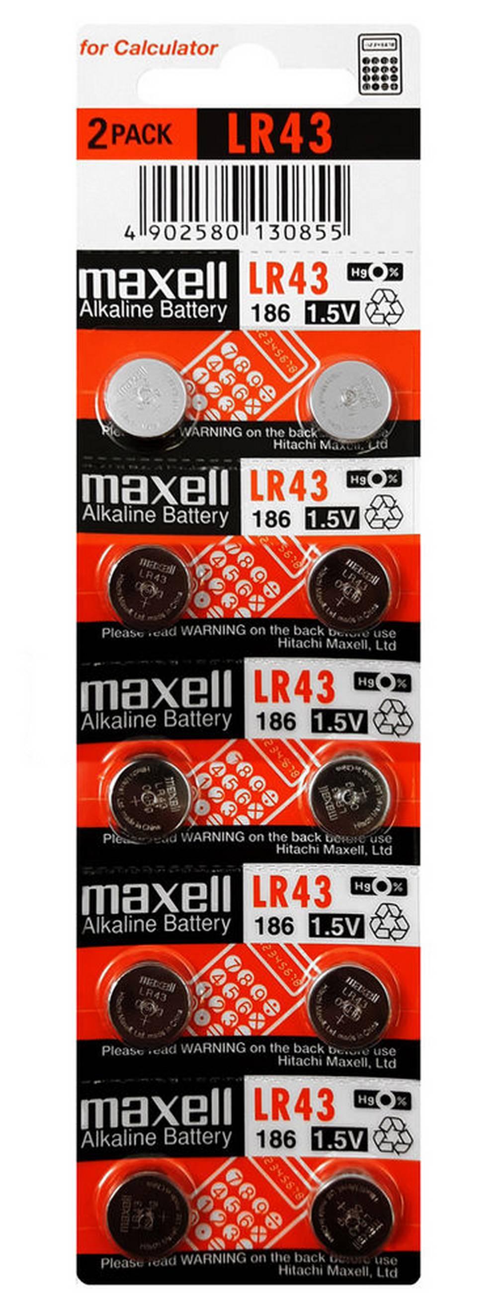 Buttoncell Maxell LR43/AG12/V12GA/RW84/LR1142 Τεμ. 10