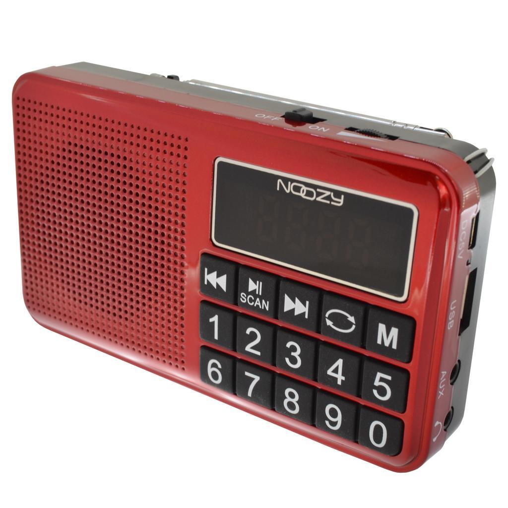 Φορητό Ραδιόφωνο Noozy S24 3W Κόκκινο με Υποδοχή USB, Κάρτα Μνήμης, Audio-in και Επαναφορτιζόμενη Μπαταρία