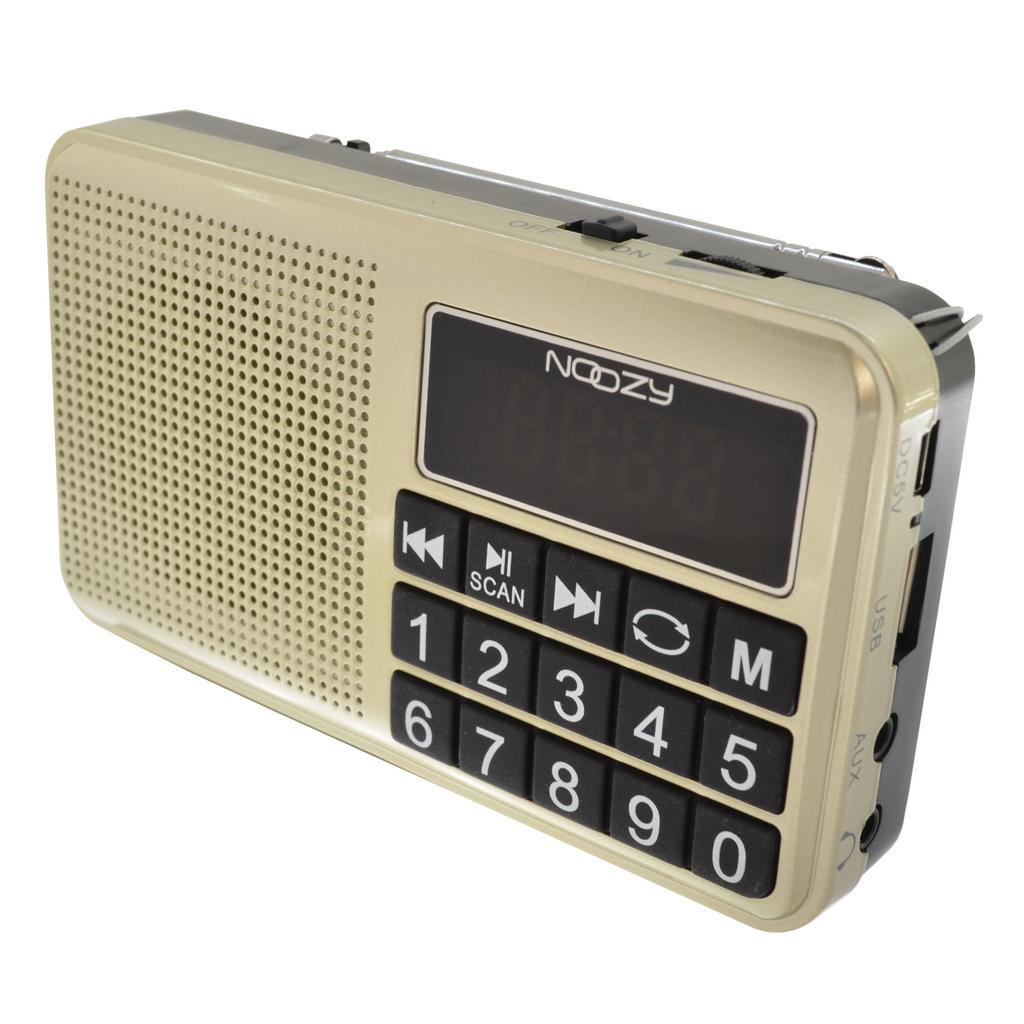 Φορητό Ραδιόφωνο Noozy S24 3W Χρυσαφί με Υποδοχή USB, Κάρτα Μνήμης, Audio-in και Επαναφορτιζόμενη Μπαταρία
