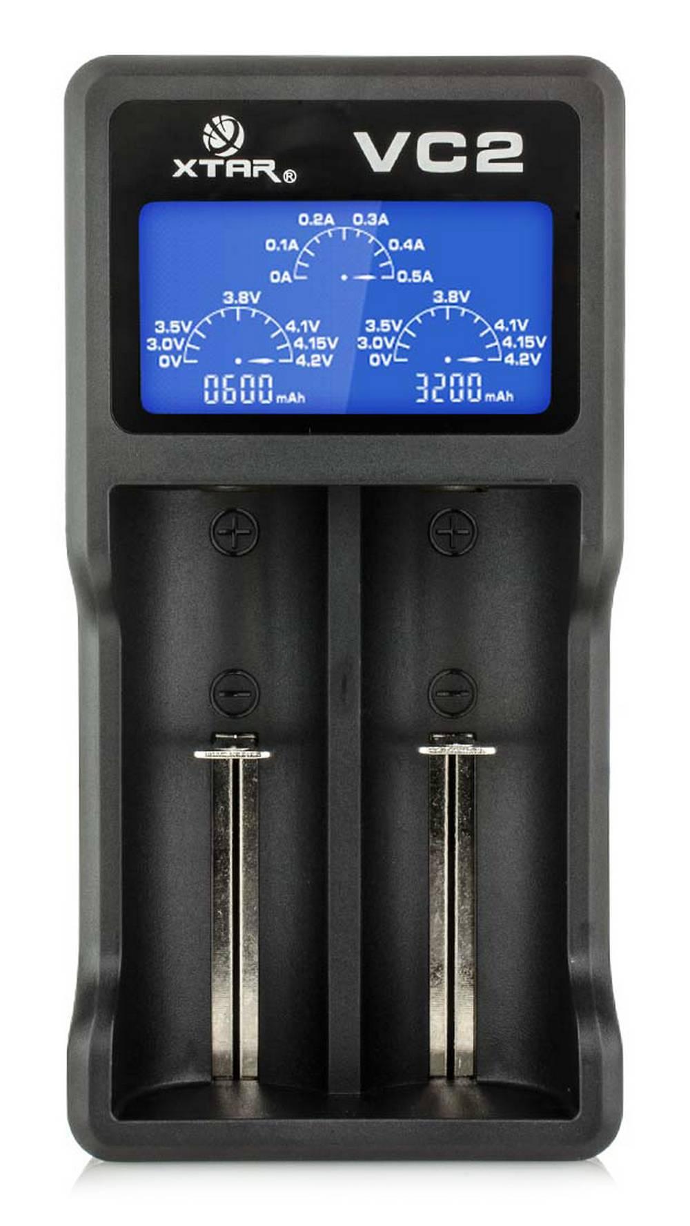 Φορτιστής Μπαταριών Βιομηχανικού Τύπου Xtar VC2 USB, 2 Θέσεων με Ένδειξη Επιπέδου Φόρτισης για 18650/17670/17500