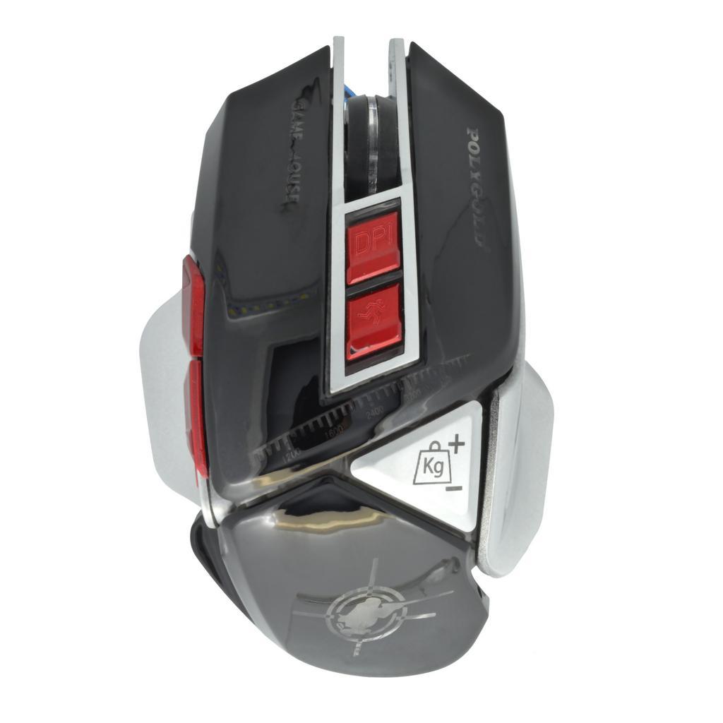 Ενσύρματο Ποντίκι Keywin 9D Gaming Mouse 7 Πλήκτρων 4800 DPI με Ρύθμιση Βάρους Μαύρο - Ασημί