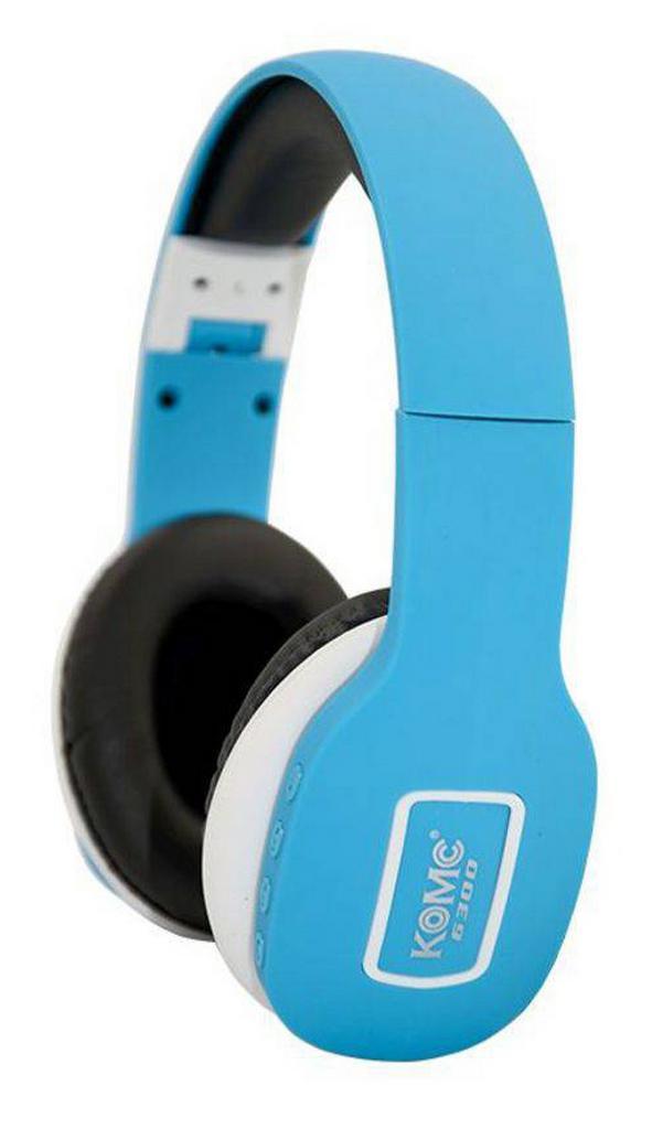 Bluetooth Ακουστικά Stereo Foldable Komc KM-6300 Ανοιχτό Μπλε με Μικρόφωνο και Υποδοχή Audio In