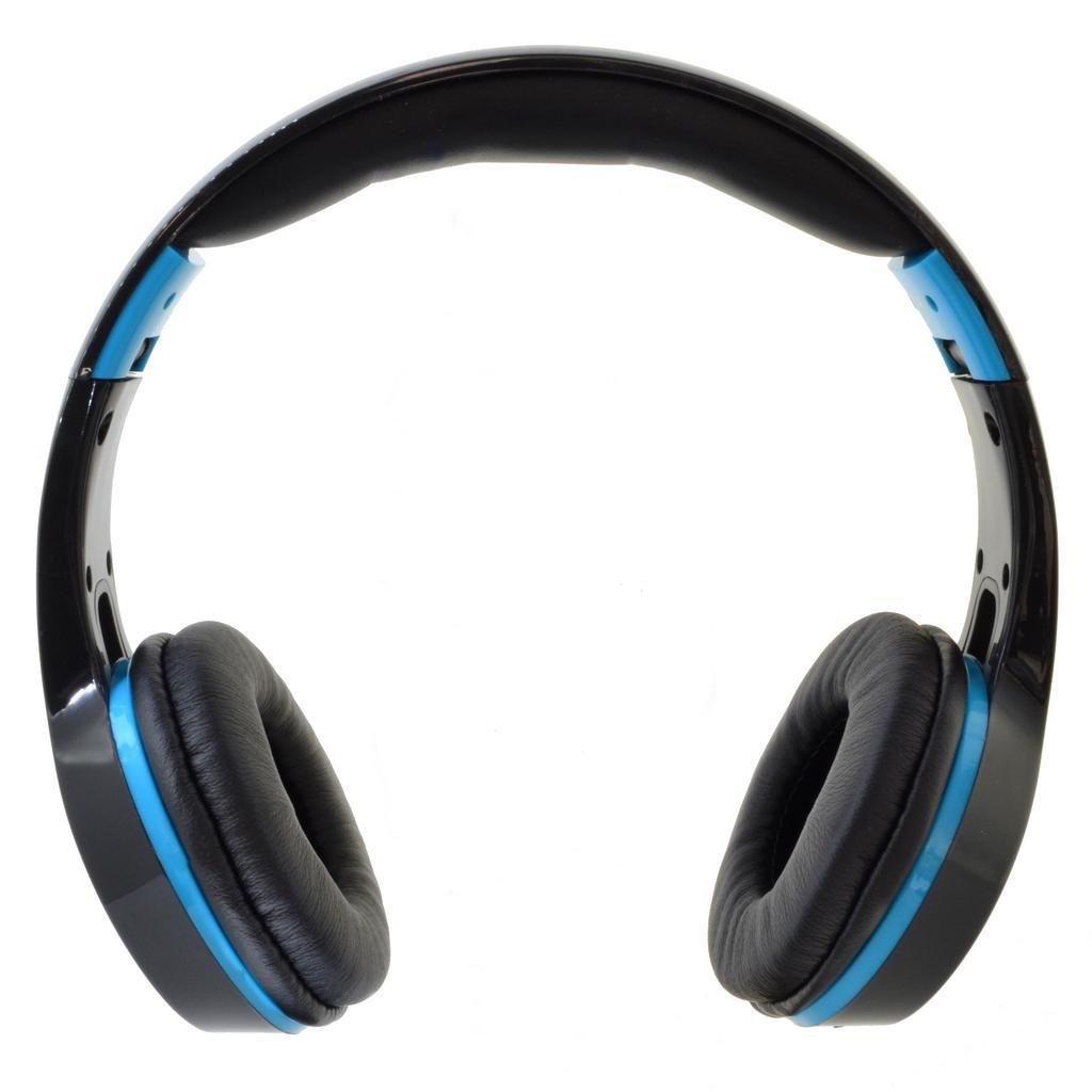 Bluetooth Ακουστικά Stereo Foldable Komc KM-6200 Μαύρα - Ανοιχτό Μπλε με Μικρόφωνο και Υποδοχή Audio In