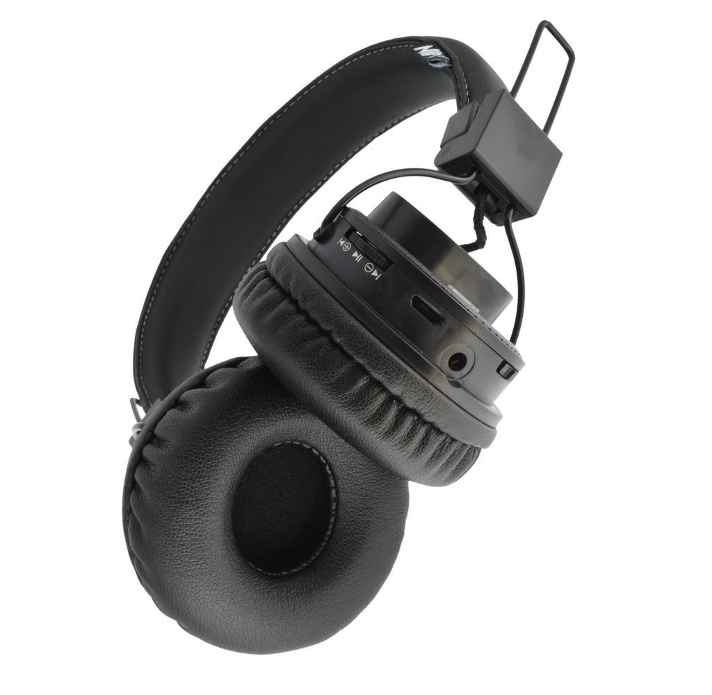 Bluetooth Ακουστικά Stereo NIA Foldable NIA-X5SP Μαύρα με Μικρόφωνο, Ραδιόφωνο FM, Audio In και MP3 Player με Κάρτα Μνήμης Micro SD