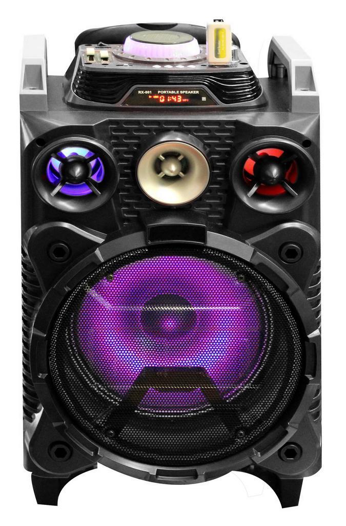 """Φορητό Ηχοσύστημα Stereo Trolley RX-801 8"""" 30W Μαύρο με Bluetooth , Audio In, Θύρα Micro SD και Λειτουργία Karaoke"""