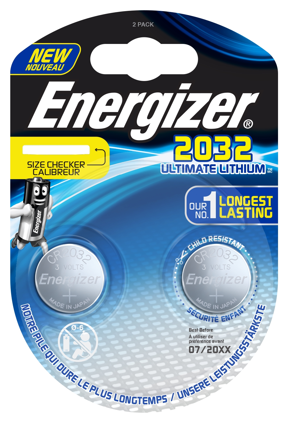 Buttoncell Ultimate Lithium Electronics Energizer CR2032 Τεμ. 2