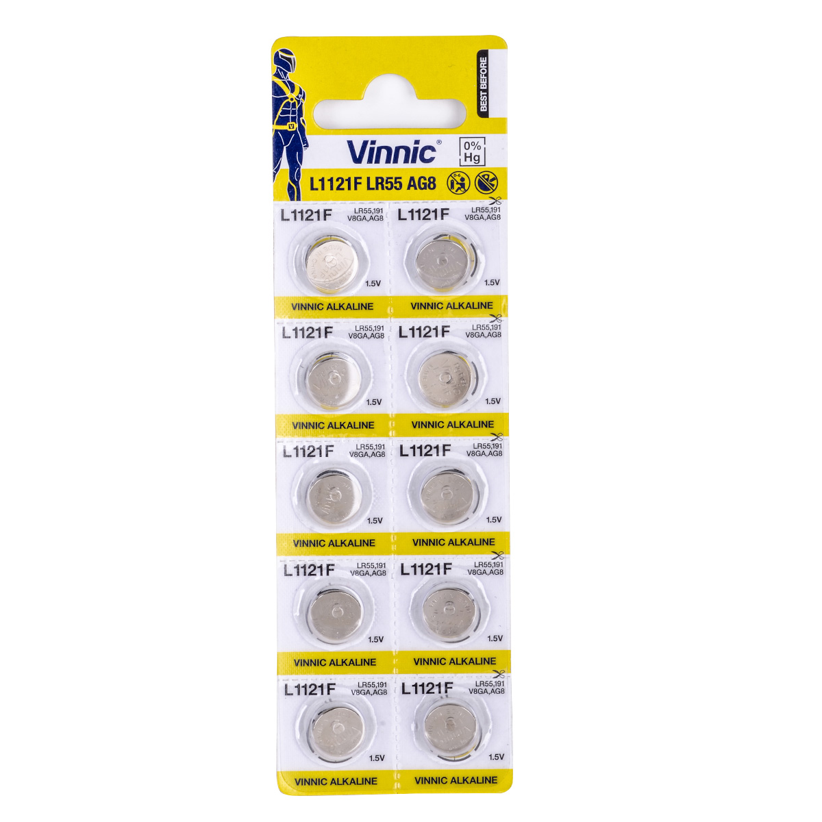 Buttoncell Vinnic LR1121F AG8 LR55 Τεμ. 10