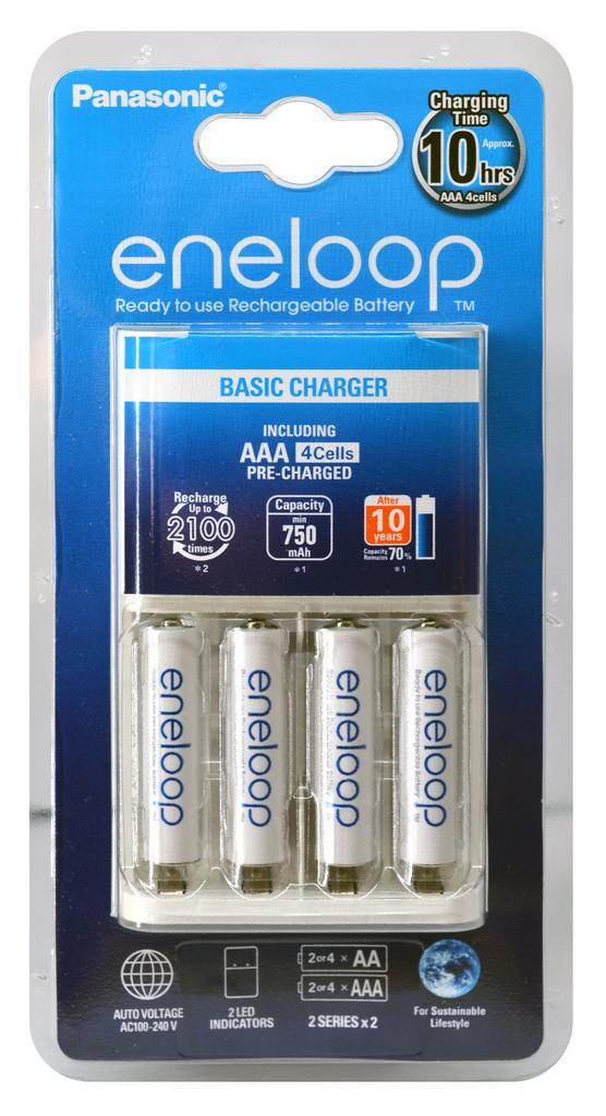 Φορτιστής Μπαταριών Panasonic Eneloop BQ-CC51E για AAA με 4 Ενσωματωμένες Μπαταρίες