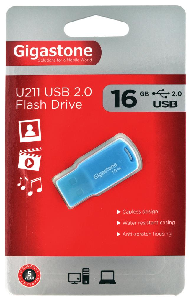 USB 2.0 Gigastone Flash Drive U211 Traveler 16GB Μπλε