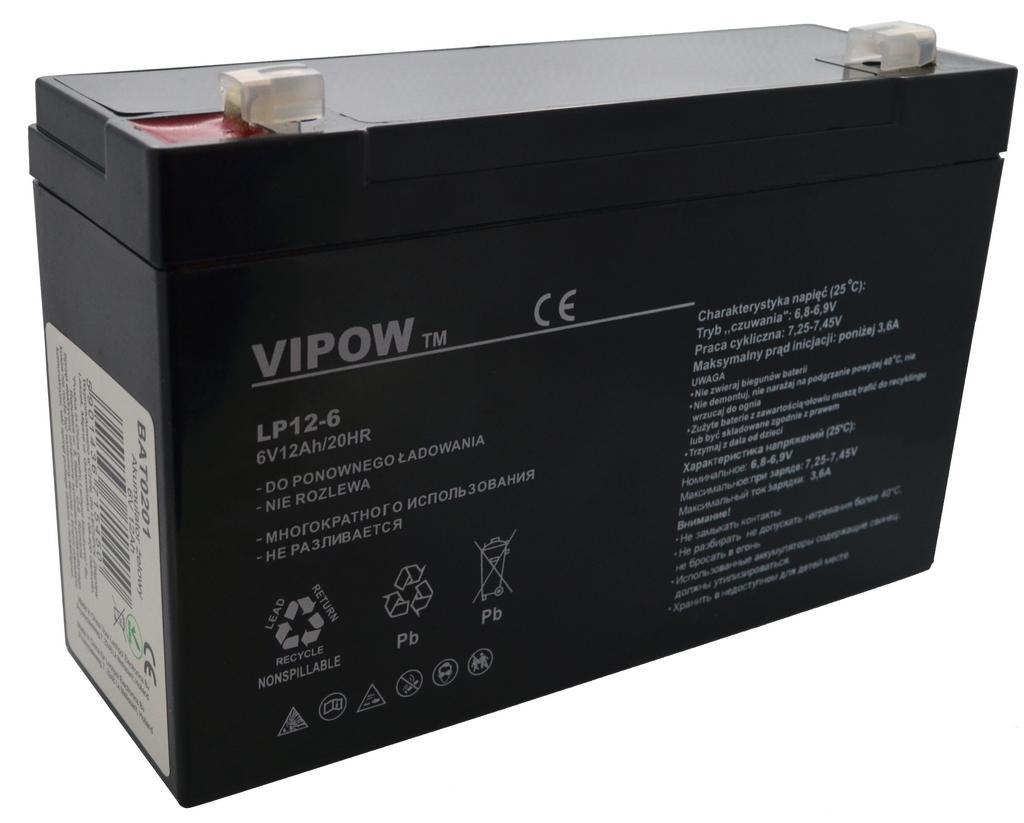 Μπαταρία για UPS Vipow LP12-6 (6V 12 Ah) 1.97 kg 150mm x 50mm x 94mm