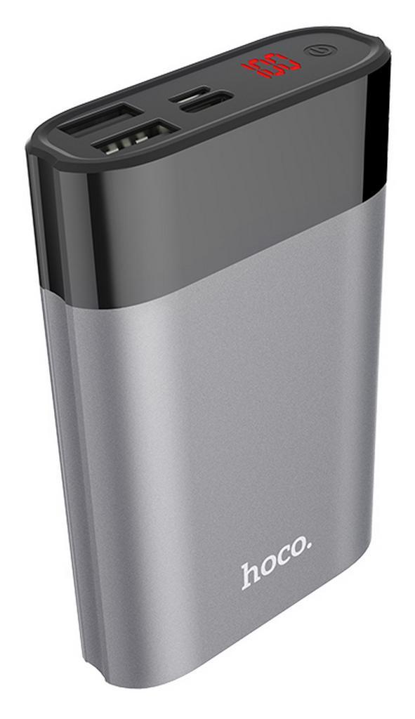 Power Bank Hoco B34 Outstanding Series 8000 mAh με υποδοχή Micro-USB, Type-C και 2 Θύρες USB Ψηφιακή LED Ένδειξη και Πλήκτρο Αφής Ασημί